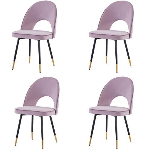 Greneric 4X Esszimmerstühle Küchenstühle Wohnzimmerstühl Hell lila Samt Weich Kissen Sitz und Rücken Mit Gold Metallbeinen Küche Stühle für Hause und Wohnzimmer (Hell lila, 4)