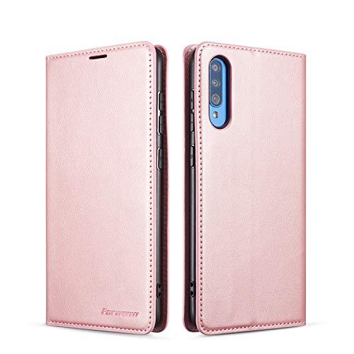 QLTYPRI Hülle für Samsung Galaxy A50, Premium Dünne Ledertasche Handyhülle mit Kartenfach Ständer Flip Schutzhülle Kompatibel mit Samsung Galaxy A30S A50 A50S - Rosegold