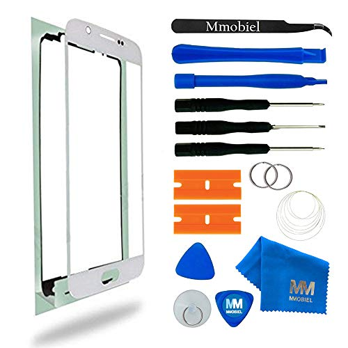 MMOBIEL Kit de Reemplazo de Pantalla Táctil Compatible con Samsung Galaxy S6 G920 Series (Blanco) Incluye Pantalla de Vidrio/Cinta Adhesiva de 2 mm/Kit de Herramientas/Limpiador de Microfibra/Alambre