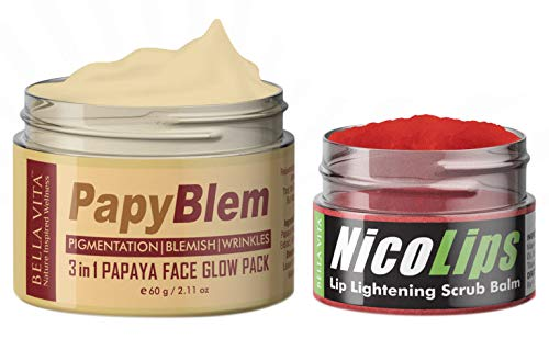 Papaya Face Glow Pack & Lip Lightening Scrub Lip Balm Combo