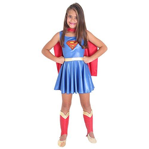 Fantasia Super Mulher Infantil Sulamericana Fantasias Azul/Vermelho P 3/4 Anos