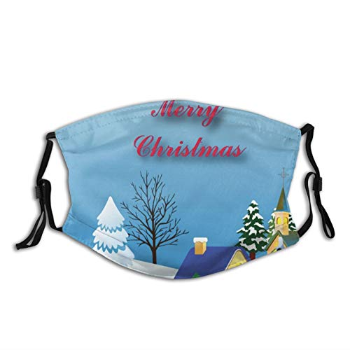 Mei-ltd Peaceful Christmas Church Face Ma_sk Washable Reusable Adult Face Cover with Adjustable Nose Wire and Ear Loops