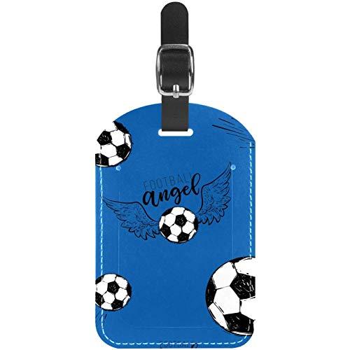 TIZORAX Gepäckanhänger fliegender Fußball mit Engelsflügel-Muster, Leder, Reisekoffer-Etiketten, 1 Packung