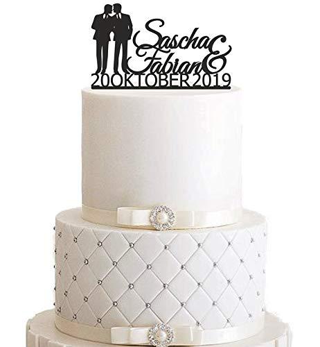 Cake topper, Mr&Mr, echtgenoot en echtgenoot, individueel, gepersonaliseerd, naam, datum, cake topper, taartsteker, taartfiguur acryl, taartstaander - kleurkeuze - etagère bruiloft bruidstaart