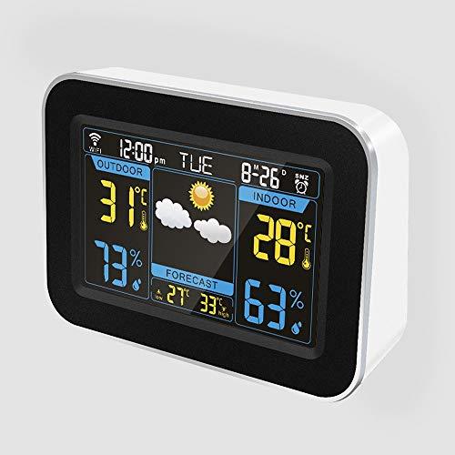 HOOBBI Wetterstation Wireless Digital Innen Außen-Thermometer mit Wecker, großem Farbdisplay Hygrometer Temperatur und Feuchte-Monitor mit Kalender (Color : Weiß)