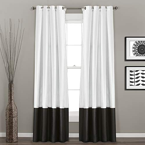 "Lush Decor Gray Prima Window Curtains Panel Set for Living, Dining Room, Bedroom (Pair), 54 x 84-inch, 84"" x 54"", Black/White"