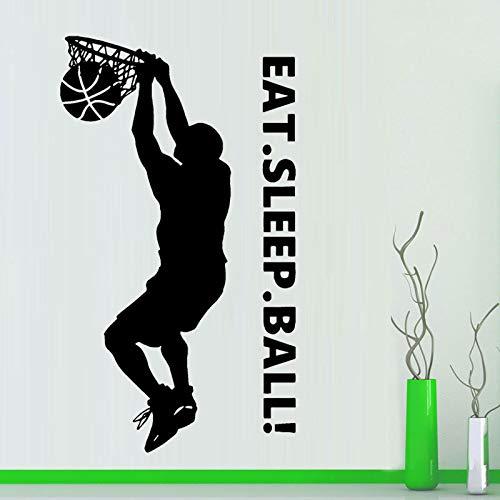 ganlanshu Basketball slam Dunk Vinyl Aufkleber wandaufkleber Kunst Dekoration Schlafzimmer Design Essen Schlaf Ball Sport wandtattoo kinderzimmer 63 cm x 111 cm