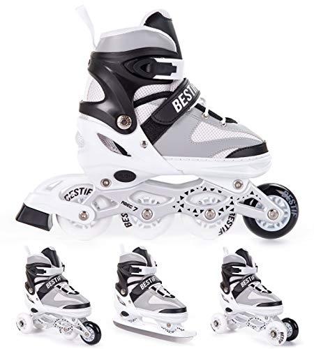 BESTIF Inliner für Kinder und Erwachsene Inline Skates 4in1 Rollschuhe Schlittschuhe Verstellbar (Weiß-Grau, 38-41)