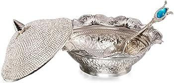 Swarovski Crystal Coated Handmade Brass Sugar Chocolate Candy Bowl Serving Dish  Silver