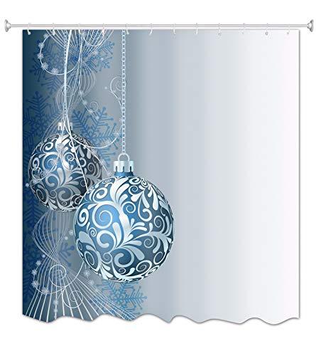 A.Monamour Weihnachten Weiß Und Blau Ball Urlaub Dekoration Schneeflocke Drucken Wasser Und Mehltau Resistent Stoff Duschvorhang Set Mit 12 Stück Haken Keine Stange Enthalten 180X200 cm / 72