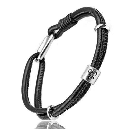 OUMYG Armband Konstellation Herren Leder Armband Für Damen Herren Armband Wassermann/Jungfrau/Skorpion/Waage 12 Sternzeichen Armband