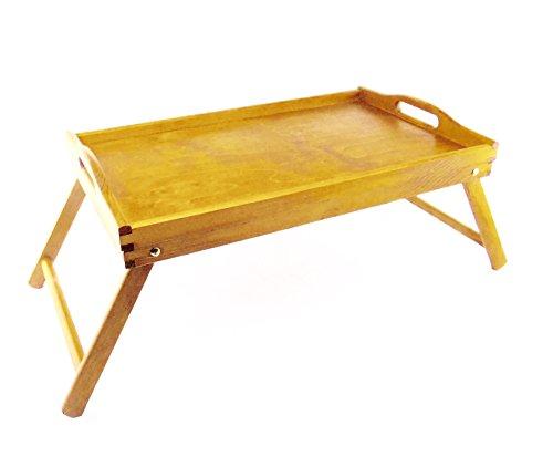 Couleur : Marron Clair Taille L Plateau Petit Déjeuner en bois avec pieds pliables idéal pour les besoins de cuisine. woodeeworld
