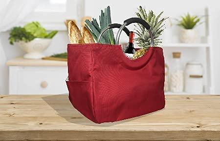 Cesta de compra reutilizable Shoppingbag Bolsa para hacer la compra supermercado Bolso térmico e impermeable Aisladas Para Alimentos Fríos O Calientes Tamaño L (Rojo)