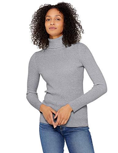 State Cashmere Damen Gerippter, langärmliger Pullover aus 100% reinem Kaschmir mit Rollkragen, Grau Meliert, Gr.- XL