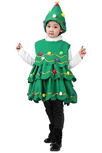 Helymore Disfraz de Arbol de Navidad para Ninos Disfraz De Escenario de Duende Vestido de Fiesta de Navidad, Size 110