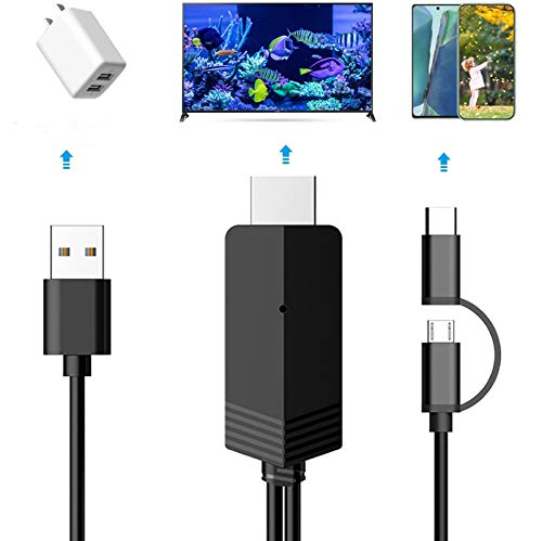 2-in-1 USB Type C/Micro USB MHL to HDMI Cable 6ft Converter 1080P HD HDTV Mirroring &Charging Cable for Android Devices 1080P Digital AV Video Adapter to Projector/TV/Monitor (Black)