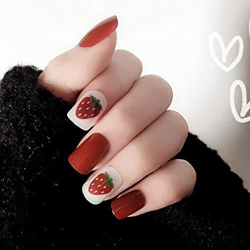 Qulin Künstliche Fingernägel zum Aufdrücken mit süßen Karton-Designs, kurz, Kawaii Falsche Nägel Spitzen mit Kleber