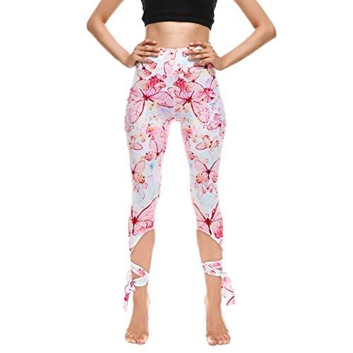 Damen Sport Leggings Yoga Hose Laufhose Fitnesshose Jogginghose Damen Capri-Leggings Freizeithose Leggings mit Ballett Riemchen Capri Hose Casual kurz Freizeithose
