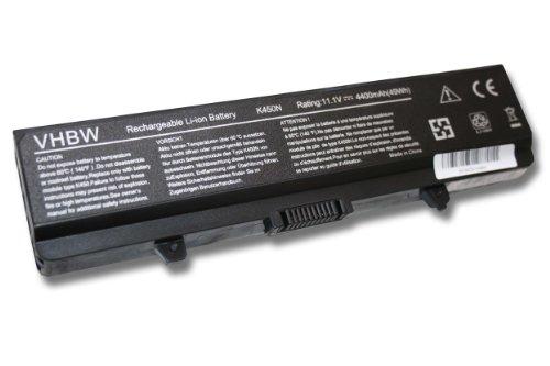 vhbw Batterie LI-ION 4400mAh 11.1V Noir Compatible pour Dell remplace GP952, 0GW252, GW252, RU586, 312-0625, 312-0626, 312-0634, 312-0633, 451-10478
