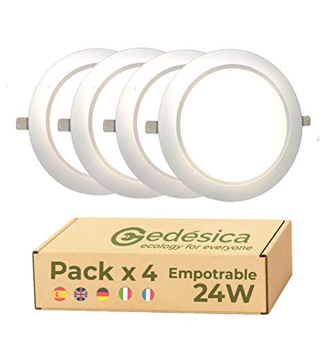 Pack X4 Lamparas de techo, Plafon Led techo, 24W 2800LM diámetro 230mm...