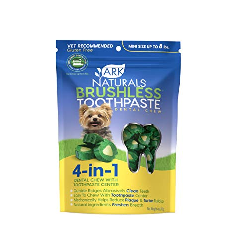 Ark Naturals Brushless Toothpaste, Dog Dental Chews for Mini Breeds, Vet Recommended for Plaque, Bacteria & Tartar Control, 1 Pack