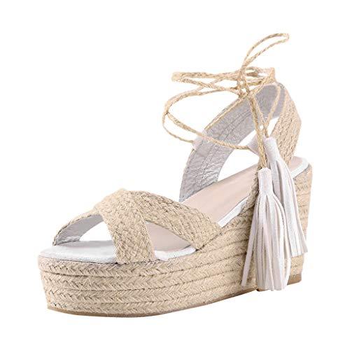 Luckycat Sandalias Mujer con Sandalias Wedge Plateau con Correa en el Tobillo Sandalias Bajas de Verano Alpargatas de Punta Abierta Zapatos Elegantes para Mujer Cómodos