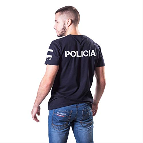 Aircops Camiseta Policia Manga Corta Hombre (M, Azul Marino)