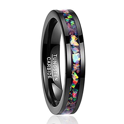 Nuncad Damen Herren Unisex Ring aus Wolfram mit Zerkleinerte Feueropal 4mm Breit Schwarz Mehrfarbig für Hochzeit Verlobung Alltag Größe 54 (14)