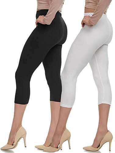 Extra Soft Capri Leggings with High Wast - 20 Colors - Plus (Plus Size (XL - 3XL), Two Pack (Black-White))