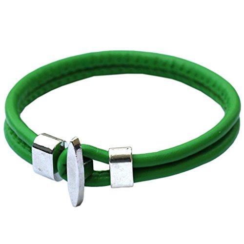 COMVIP 20cm Länge Pu Leder Damen Herren Unisex Vintage Armreif Armbänder Armkette Wickelarmbänder Grün