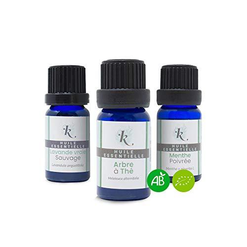 KLARCHA - Trio Indispensable - Trio Essentiel : Tea Tree, Lavande Vraie et Menthe Poivrée - Huiles Essentielles Bio - 10 ml x 3 - Pack Aromathérapie - Bien-Être et Soin
