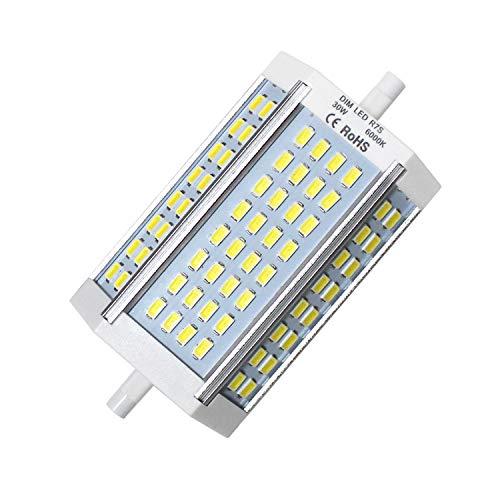R7s LED Leuchtmittel, R7s LED 118mm Birne Dimmbar Lampe, 30W J118 J Typ 200-250W Halogen Glühlampen Ersatz, Kühl Weiß 6000K Linear Leuchtmittel, AC 230V, 2500LM, 120 Grad (1er-Pack)