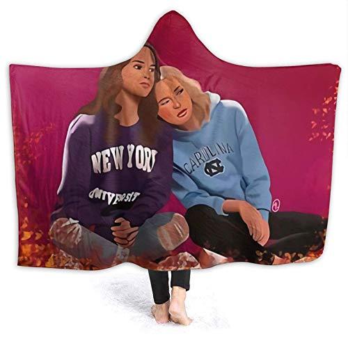 XCNGG Manta con Capucha Hooded Blanket Throw Alexa and Katie Fanart Super Soft Sherpa Fleece Blanket Hood Poncho Cloak Cape