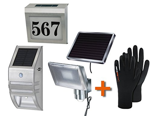 Brennenstuhl Solar LED-Strahler SOL 80 ALU IP44 1170840 + Solar LED-Wandleuchte SOL02007 IP44 1170780 + Beleuchtete Solar Hausnummer SH 4000 IP44 1179810 + 1Paar Polyester, Strickhandschuh mit Latex