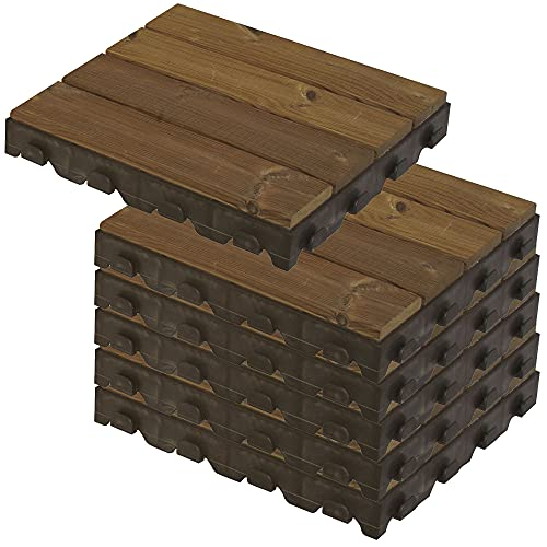 WellHome PK3660 Pack Madera para Suelo (jardín, terraza, Piscina, Camping, balcón, Exterior) Combi-Wood, 39x39 6,5 cms. de Alto 1m², 6 Baldosas/Lamas