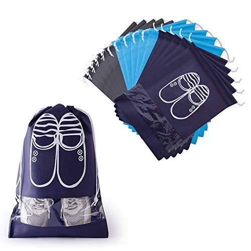 Hianjoo 15 Piezas Bolsas Zapatos, Multifunción Bolsa Prueba de Polvo con Ventana Transparente, Portátil Prueba de Humedad Almacenamiento Bolsa para Viajes Hogar, Azul Oscuro, Gris, Azul Claro