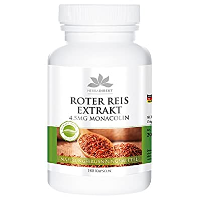 Herbadirekt Red yeast rice extract 600mg, contains 4,5mg monacolin K, vegan, 180 capsules by Warnke Gesundheitsprodukte GmbH & Co. KG