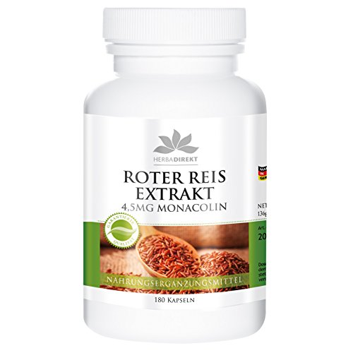 Roter Reis Kapseln - Roter Reis Extrakt 600mg - 4,5mg Monacolin - 180 Kapseln