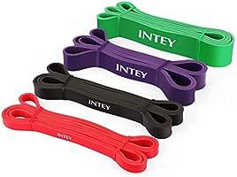 INTEY Bandas de Resistencia, 4pcs Bandas Elasticas de Fitness, de Látex Natural, para Entrenamiento de Fuerza, Yoga,...