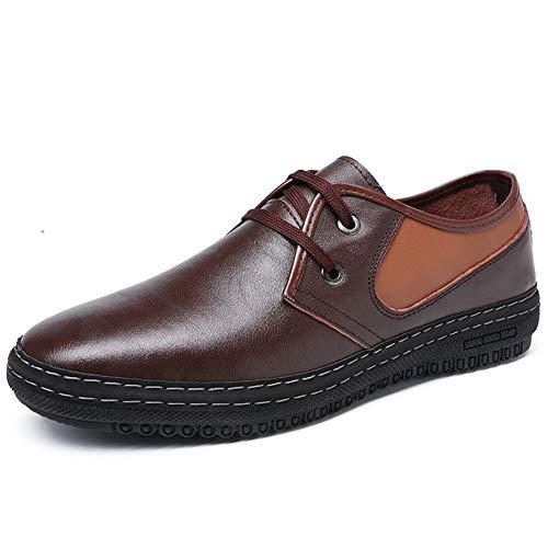 RINCO Mocasín para hombres zapatos casual con cordones punta redonda de cuero genuino transpirable exquisito sudadero ligero plano antideslizante suela, negro, 38 EU