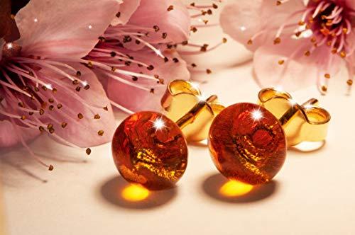 Orecchini Ambra in vetro di Murano, Creazioni Pireta, placcato in oro 18k, anallergico, fatto a mano, hand made, Made in Italy, orecchino a bottone, regalo perfetto per lei.