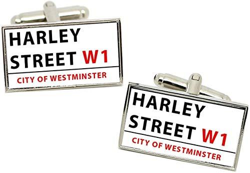 Giftshop UK Harley Straßenschild Rechteckig Manschettenknöpfe in Box