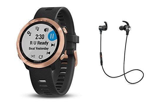 Garmin GPS-Performance Laufuhr Forerunner 645M schwarz mit Rose Metall Luenette inkl. Musik Funktion und Bluetooth Headset