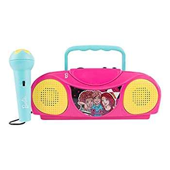 Sakar Barbie Kids Karaoke Machine with Radio KO1-03371 Compatible with iPod and MP3 Player AM FM Portable Radio Includes Corded Microphone for Kids Durable Handle Red/Blue Design
