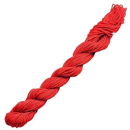 Merssavo 28 Mètres 1MM Rouge Couleur Jade Ligne Bracelet Tressé Corde Chinois Noeud Fil