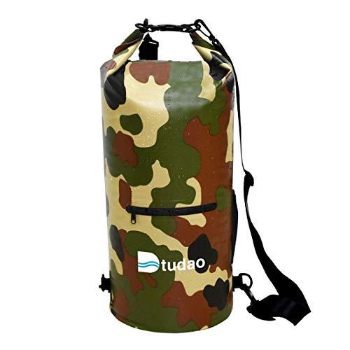 Qoge Freie wasserdichte Tasche, Dtudao im Freien Wasserdichten Dry Bag Dry Sack mit Dual Schultergurt & Flaschenhaltern, Kapazität: 20L QiuGe (Color : Army Green)