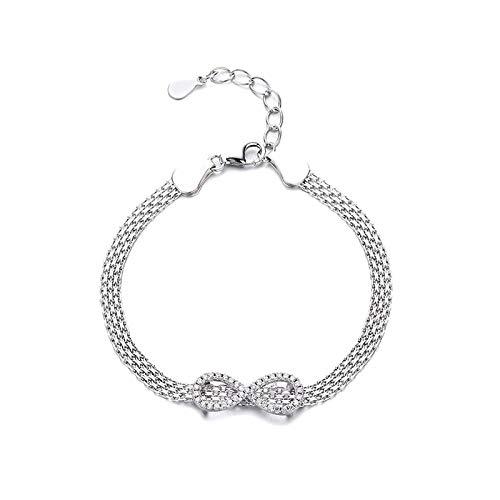 1 pulsera de plata de ley 925 con símbolo de infinito para mujer