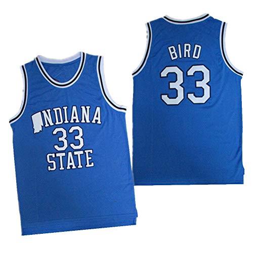 HQSG Baloncesto Jersey-Indiana State University 33# Larry Bird College Retro Jersey Camiseta de Baloncesto Tops Bordados Fans Traje de Baloncesto Regalo de cumpleaños (S-XXL)-L
