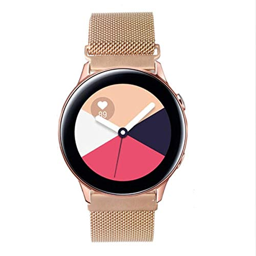 GOSETH Compatible with Samsung Galaxy Watch Active (40mm) Bands/Active2 (44mm) Bands, 20mm Mesh Stainless Steel Strap for Galaxy Watch Active/Active2 (Rose Gold)