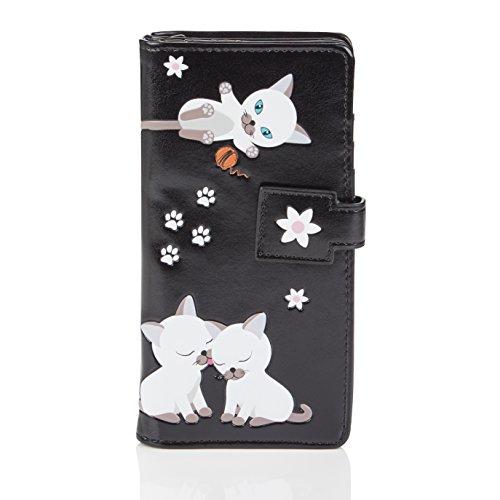 Shagwear ® Portemonnaie Geldbörse Damen Geldbeutel Mädchen Bifold Mehrfarbig Portmonee Designs: (Verspielte Kätzchen Schwarz/Playful Kittens)